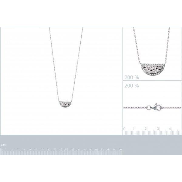 Collier Demi-lune martelé Argent - Oxyde de Zirconium - 45cm