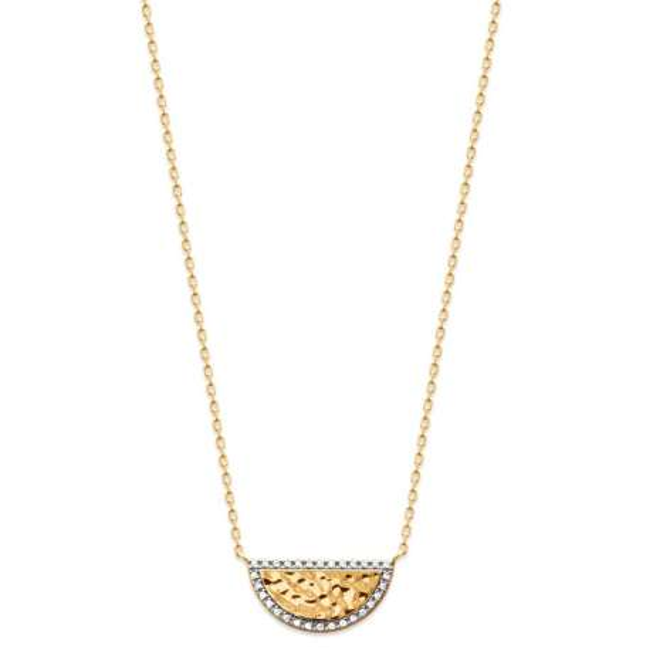 Collana Demi-lune Placcato in oro 18k - Zirconia Cubica - Bicolore - 45cm