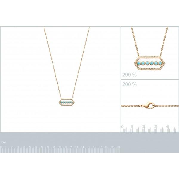 Collier forme de Cristal Plaqué Or - Zircone - Pierre d'imit.Bleu - 45cm