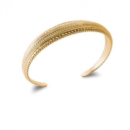 Bracciale Bangle Ouvert tressé perlé Placcato in oro 18k - Donna - 58mm