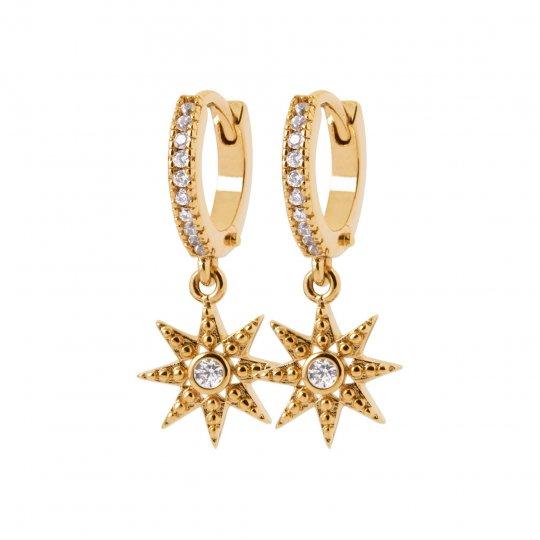 Cerchio Orecchini étoile Zirconia Cubica Placcato in oro 18k - Donna