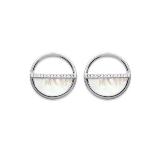 Boucles d'oreilles Nacre Oxyde de zirconium Argent rhodié - Femme