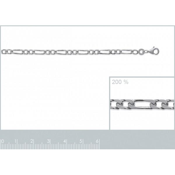 Catena de cou Figaro Argento Sterling 925 Rodiato - Uomo/Donna - 45cm