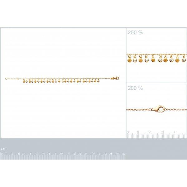 Bracciale bohème Breloques Placcato in oro 18k - Zirconia Cubica - 18cm