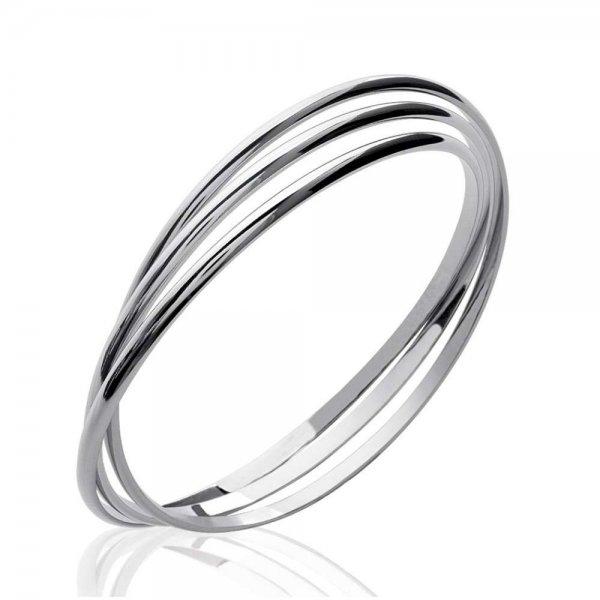 Bracciale Bangle Triple anneaux fins Argent Rhodié - Donna - 66mm
