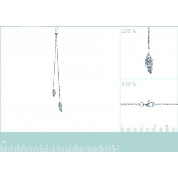 Sautoir Plumes Argent Rhodié - Oxyde de Zirconium - Femme - 60cm