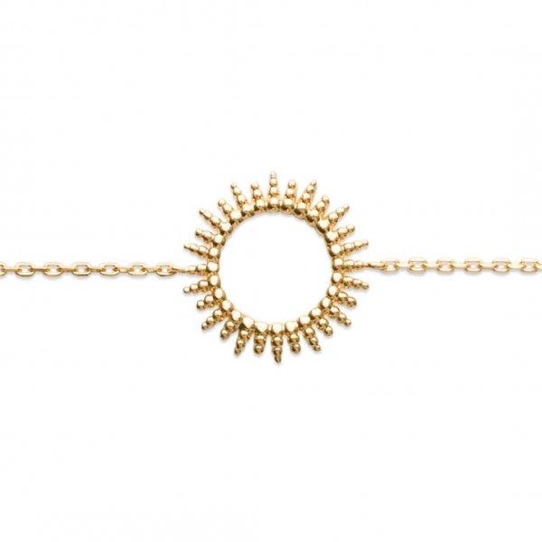 Bracelet Soleil perlé Plaqué Or - Femme - 18cm