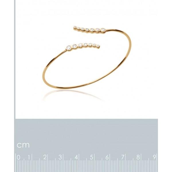 Bracciale Bangle ouvert Placcato in oro 18k - Zirconia Cubica - Donna - 58mm