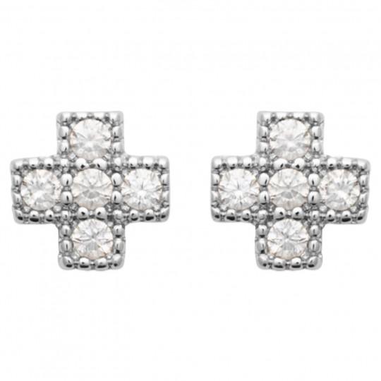 Earrings Christian cross Perlée Cubic Zirconia Argent rhodié