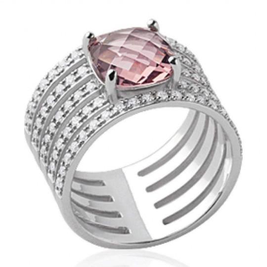 Ring tube ajourée pierre d'imitation rose Solitaire 8mm Argent Rhodié