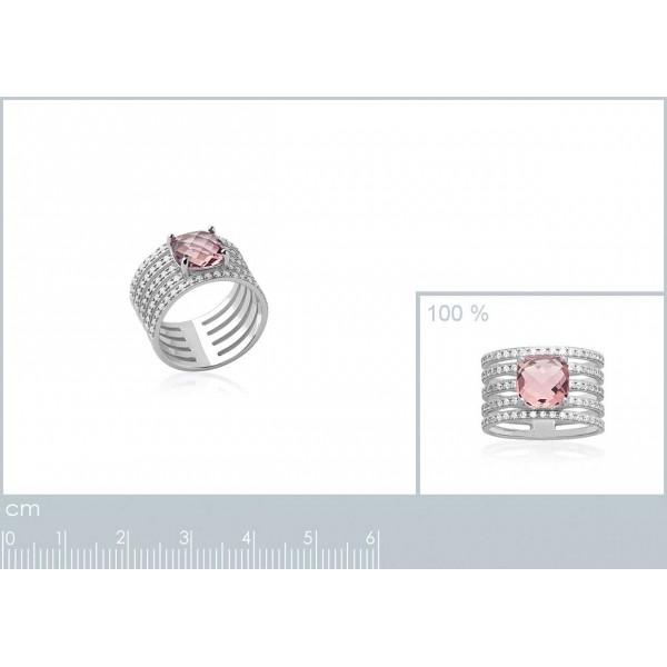 Bague tube ajourée pierre d'imitation rose solitaire 8mm Argent Rhodié