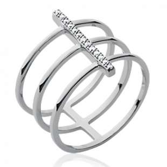 Bague triple anneaux strass Argent Rhodié - Zirconium - Femme