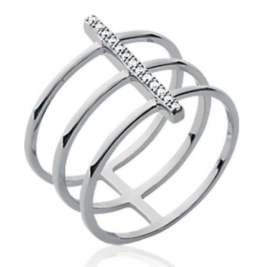 Ring triple anneaux strass Argent Rhodié - Zirconium - Women
