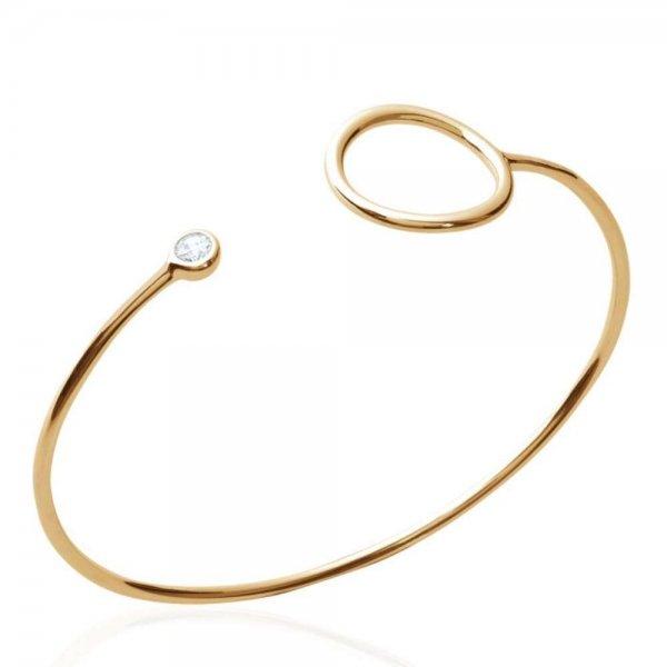 Bracciale Bangle Anneau simple Placcato in oro 18k - Zirconia Cubica - 58mm
