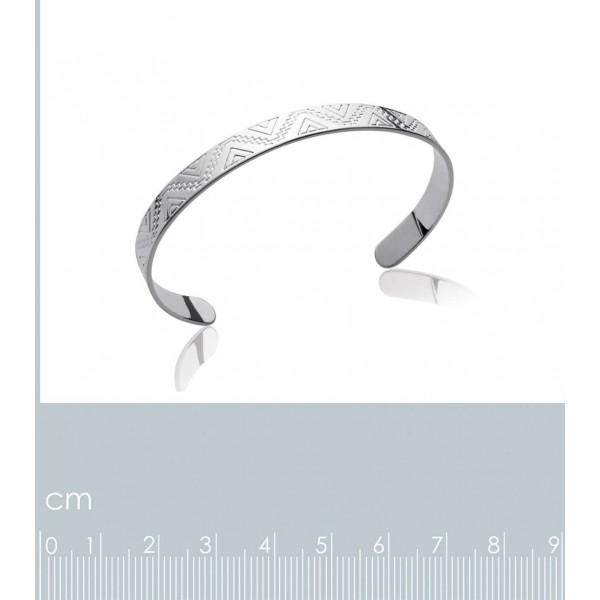 Bracciale Bangle Aztèque Maya Argento Sterling 925 Rodiato - Donna - 58mm