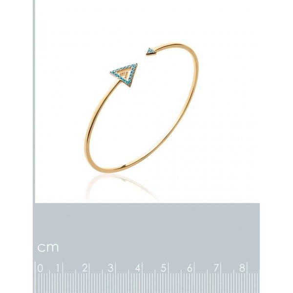 Jonc triangle pierre d'imitation Bleu Plaqué Or - Femme - 56mm