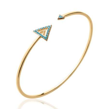 Bracciale Bangle Triangolo pierre d'imitation Bleu Placcato in oro 18k - Donna - 56mm