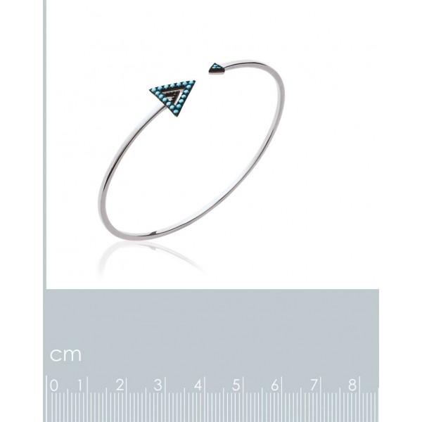 Jonc triangle noir pierre d'imit.Bleue Argent Rhodié - 56mm