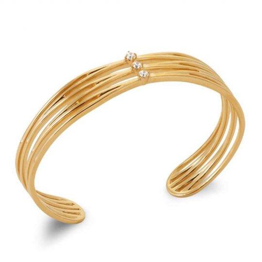 Bangle ouvert croisé Oxydes de zirconium Gold plated 18k - Women - 58mm