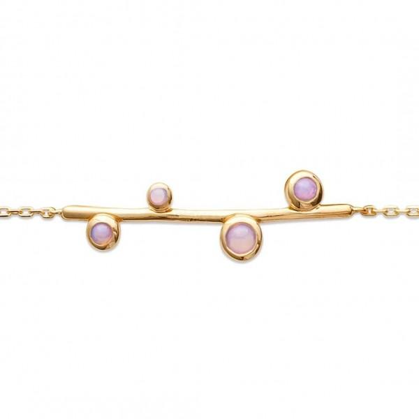 Bracciale pierres d'imitation roses fantaisie Placcato in oro 18k - Donna - 18cm