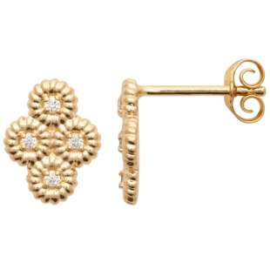Earrings torsadées Cubic Zirconia Gold plated 18k - Women