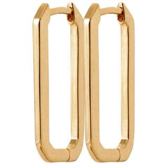 Boucles d'oreilles rectangles Plaqué or - Femme