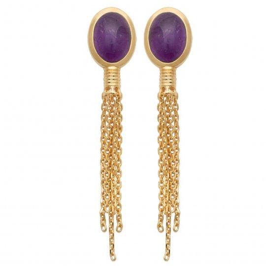 Boucles d'oreilles pendantes chaînettes Améthyste Plaqué or - Femme