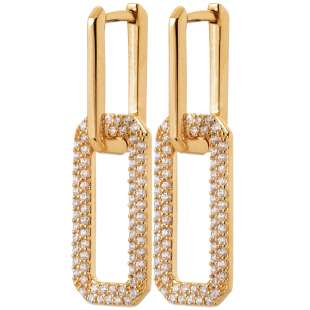 Earrings rectangles enlacés Cubic Zirconia Gold plated 18k