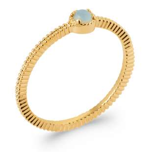 Ring perlée Agate Bleue Gold plated 18k 5 Microns - Women
