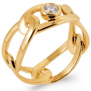 Ring Cubic Zirconia Gold plated 18k 5 Microns - Women
