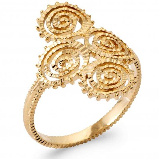 Ring perlée tourbillons Gold plated 18k - Women
