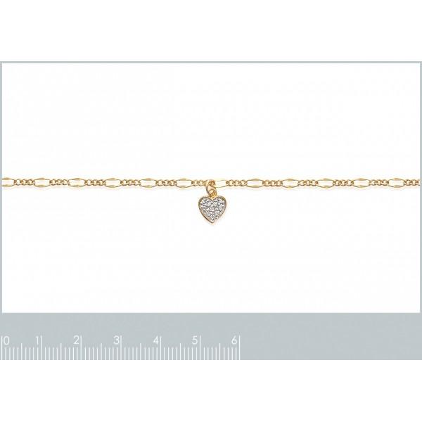 Chaîne de cheville coeur pavé Plaqué Or - Oxyde de Zirconium - 25cm