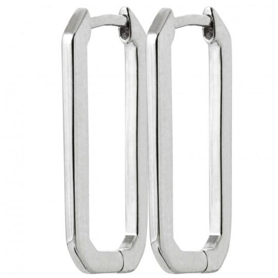 Earrings rectangle Argent rhodié - Women