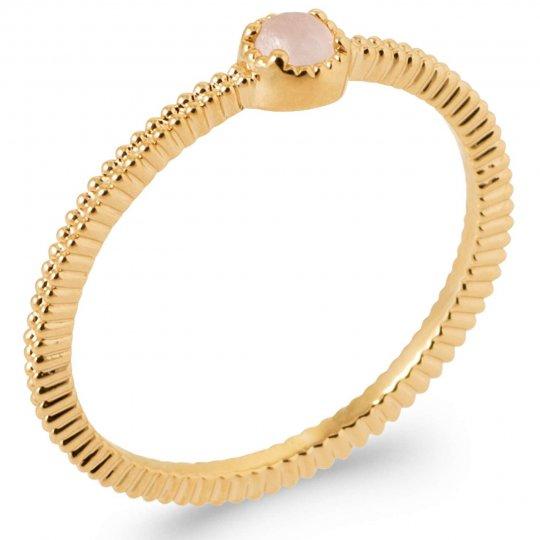 Ring Quartz rose perlée Gold plated 18k 5 Microns - Women