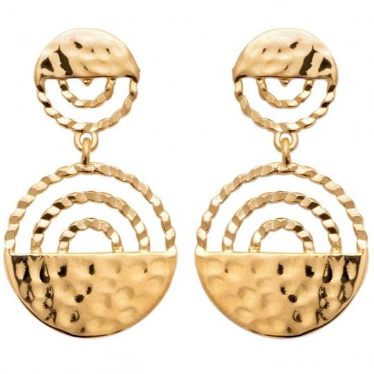 Boucles d'oreilles pendantes torsadées et martelées Plaqué or