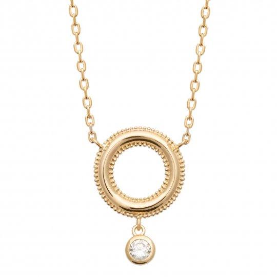 Collier Anneau perlé Oxyde de zirconium Plaqué or - Femme - 45cm