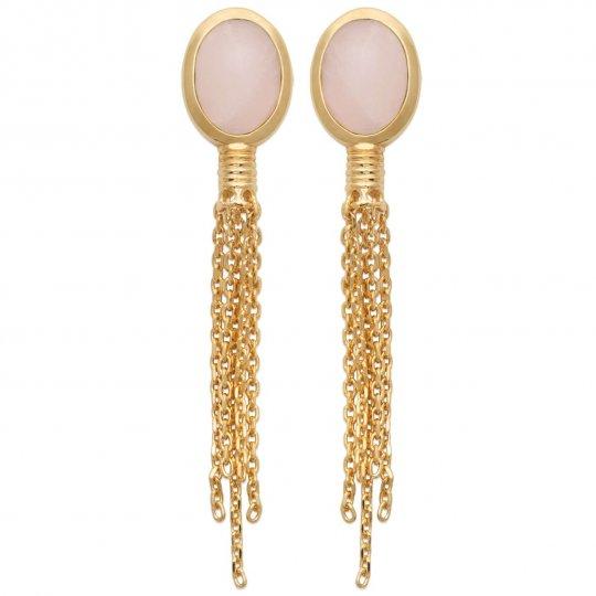 Boucles d'oreilles chaînettes pendantes Quartz rose Plaqué or