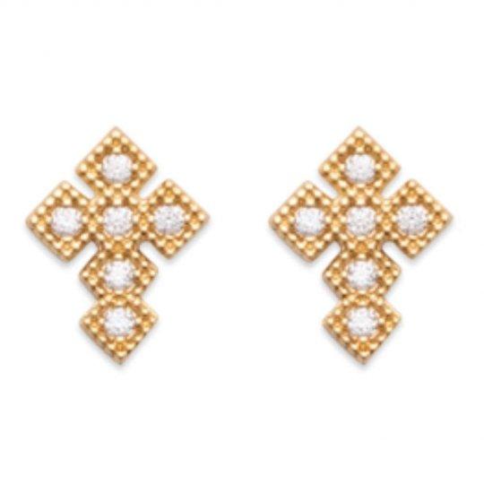 Boucles d'oreilles Croix religieuse Zircones Plaqué or 750/1000