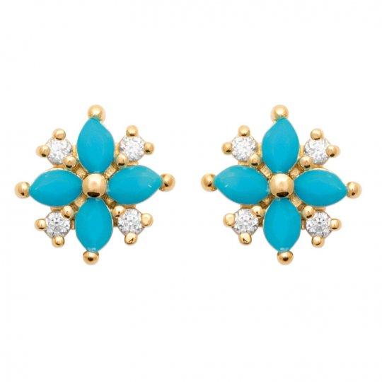 Boucles d'oreilles puces Pierres d'imitation turquoises & Zircones Plaqué or