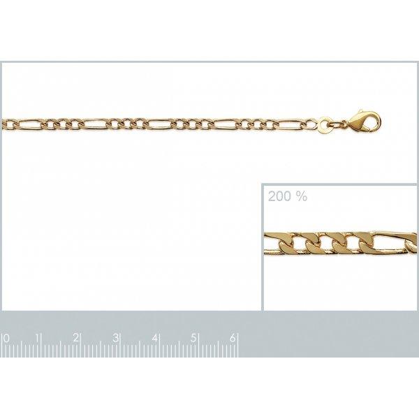 Bracelet chaîne Figaro Plaqué Or - Homme/Femme - 18cm