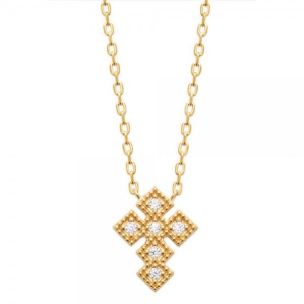 Collier Croix Oxyde de zirconium Plaqué or - Femme - 45cm