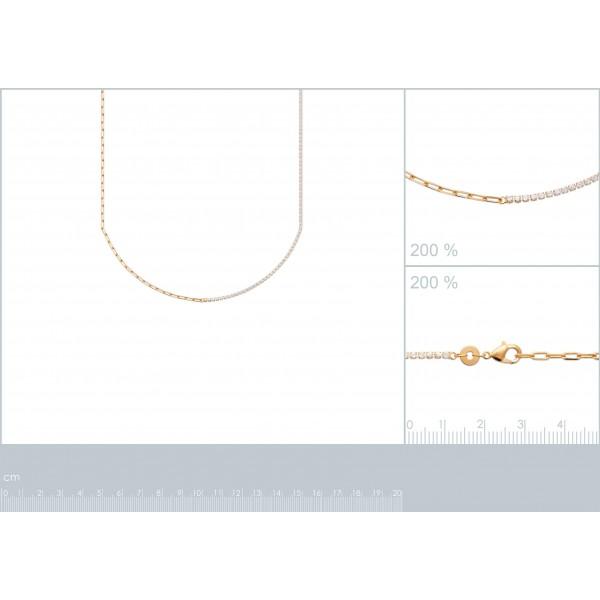 Collier Moitié chaîne moitié Zircones Plaqué or - Femme - 45cm