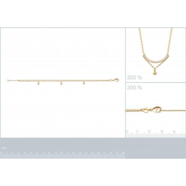 Bracelet breloques soleil Oxyde de zirconium Plaqué or - Femme - 18cm