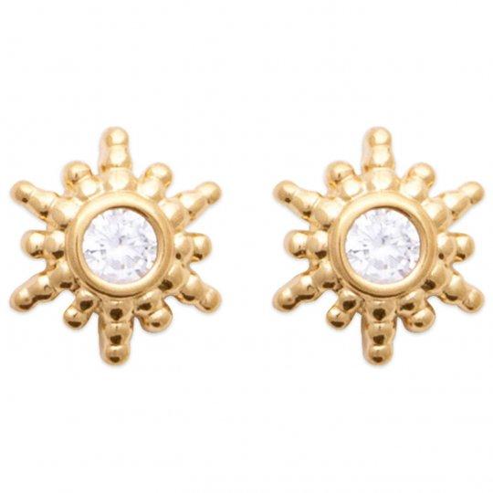 Boucles d'oreilles Soleil Oxyde de zirconium Plaqué or - Femme