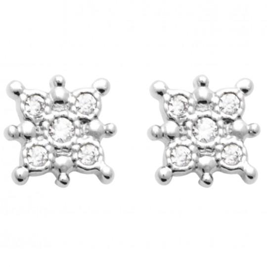 Boucles d'oreilles Soleil Oxyde de zirconium Argent rhodié - Femme
