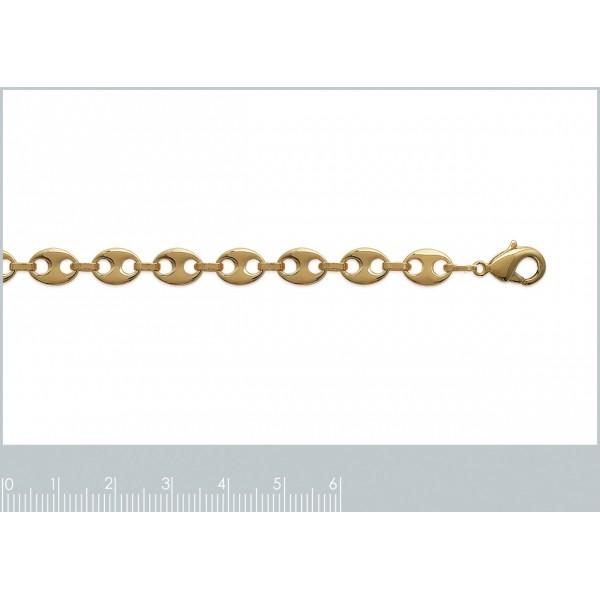 Bracciale Catena Grain De Café 6mm Placcato in oro 18k - Mixte - 21cm