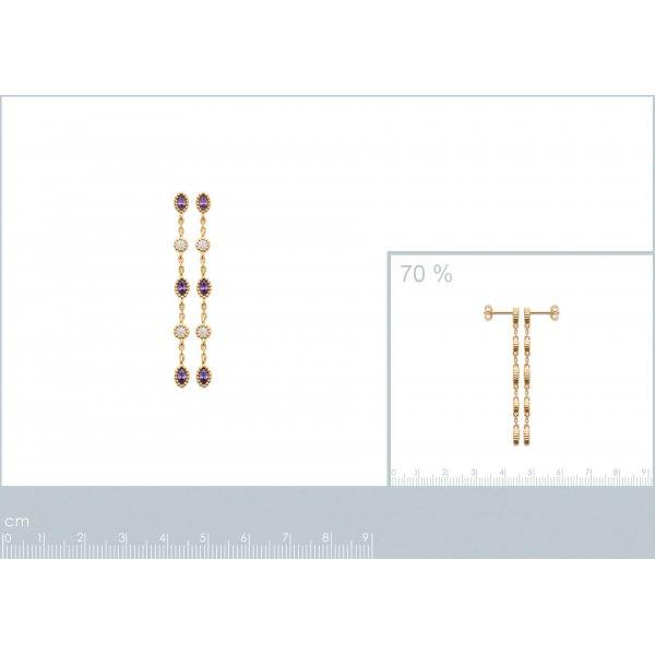 Boucles d'oreilles Pendantes Pierre de synthèse Zircone Plaqué or