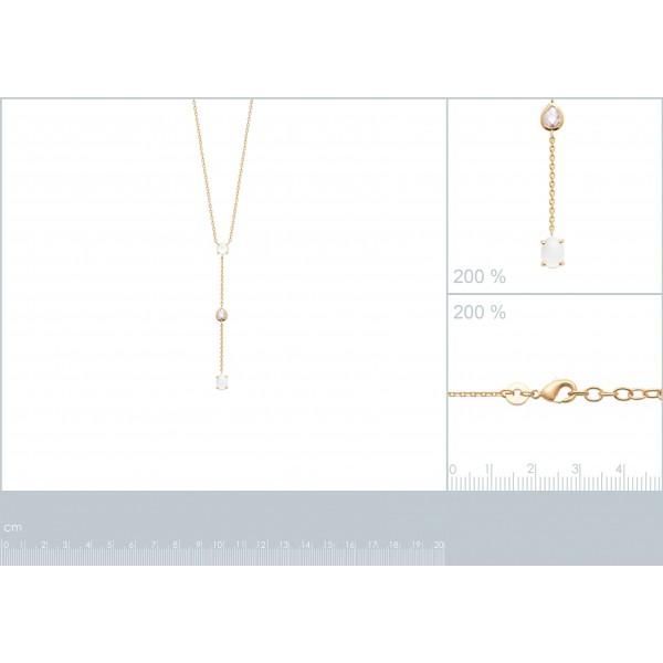 Collier cravate Pierre de lune Oxyde de zirconium Plaqué or 750/1000 - Femme