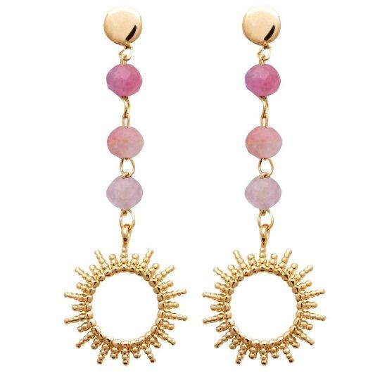 Boucles d'oreilles Soleil Pendantes Tourmaline rose Plaqué or