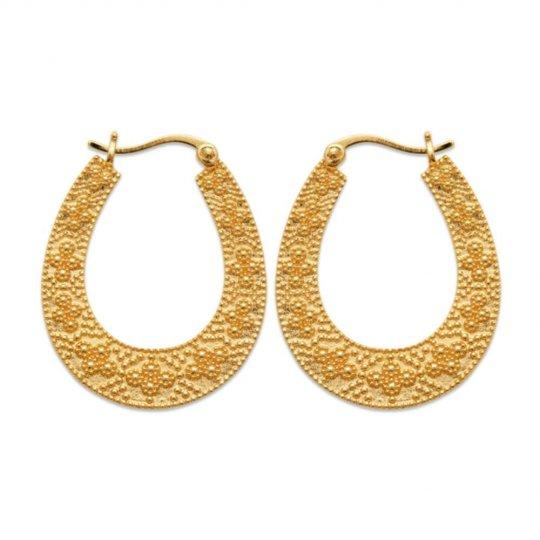 Boucles d'oreilles créoles gitanes plates Plaqué or - Femme